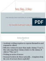 They Say, I Say- The Moves That Matter in Academic Writing