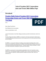 Prentice Halls Federal Taxation 2015 Corporations Partnerships Estates and Trusts 28th Edition Pope Test Bank