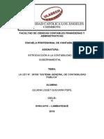 """informe el marco conceptual de la Ley N°. 28708 """"Sistema General de Contabilidad Pública"""""""