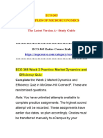 ECO 365 Week 2 Practice Market Dynamics and Efficiency Quiz