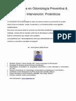 Fundamentos en Odontología Preventiva & Mínima Intrvención Probioticos