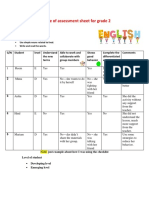 sample of assessment sheet for grade 2