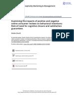 Sharifi, Shahin -- Examining the Impacts of Positive and Negative Online Consumer Reviews