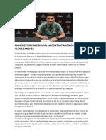 Manchester Hace Oficial La Contratacion Del Chileno Alexis Sanchez Jhon Alexander