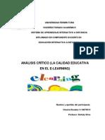 ANÁLISIS CRÍTICO (LA CALIDAD EDUCATIVA EN EL E-LEARNING)