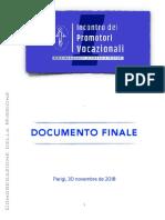 [ITA] Incontro dei Promotori Vocazionali – DOCUMENTO FINALE