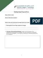 Graduation Project Proposl Form