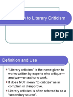 Basic info on Literary Criticism