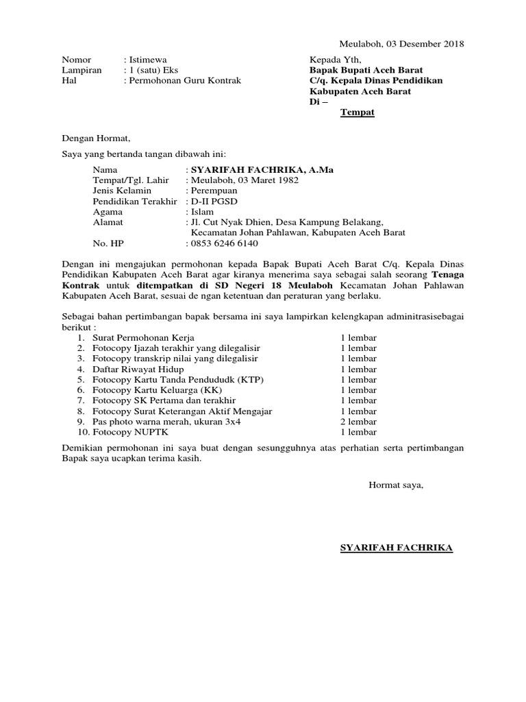 Contoh Surat Lamaran Kerja Ke Dinas Pendidikan
