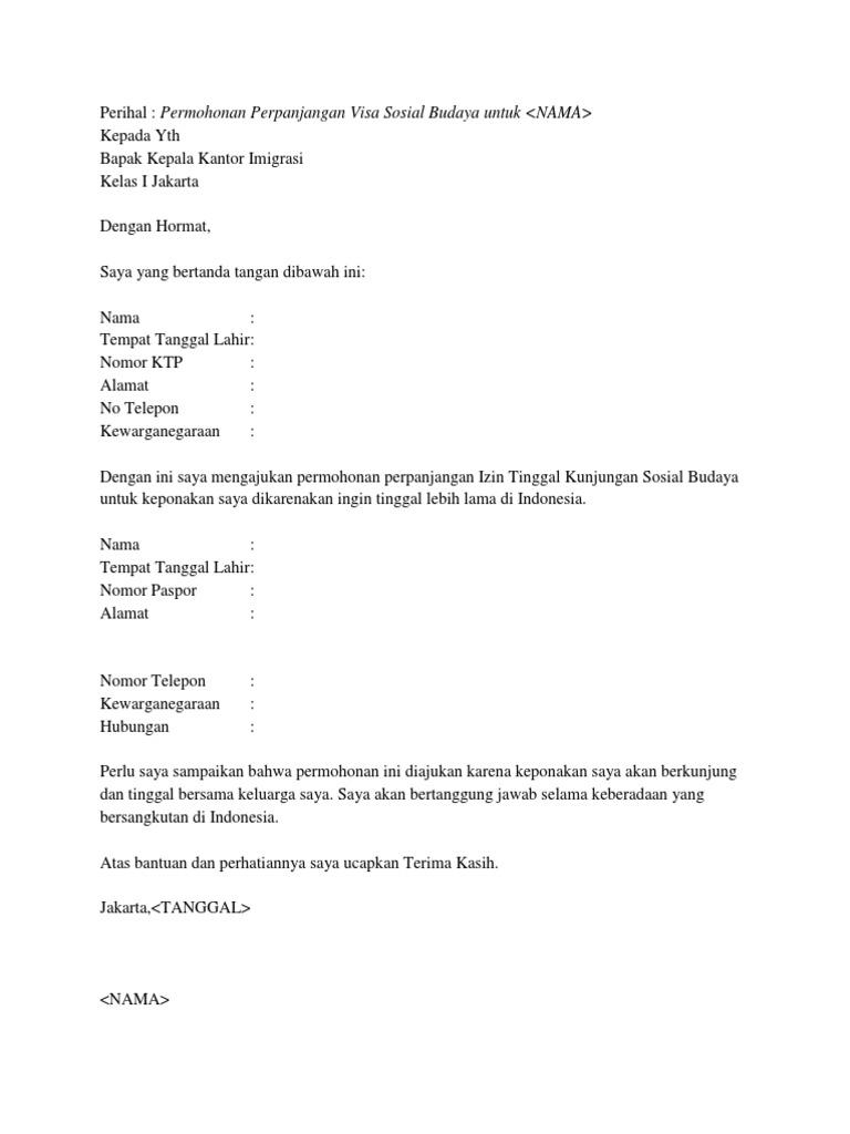 Contoh Surat Permohonan Izin Visa Simak Gambar Berikut