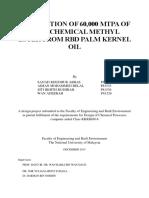 PRODUCTIONOF60000MTPAOFOLEOCHEMICALMETHYLESTERFROMRBDPALMKERNELOIL