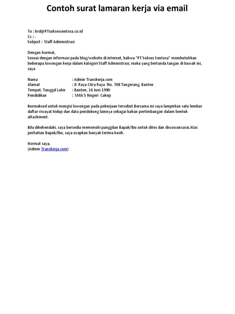 Contoh Surat Lamaran Kerja Via Email