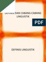 Definisi Dan Cabang-cabang Linguistik