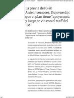 Ante Inversores, Dujovne Dijo Que El Plan Tiene Apoyo Social y Luego Se Vio Con El Staff Del FMI