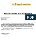 Cert of Site Insp