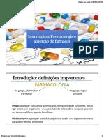 01 - Introdução a Farmacologia e Absorção de Fármacos