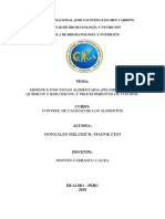 Higiene e Inocuidad Alimentaria (Peligros Físico, Químicos y Biológicos) y Procedimientos de Control