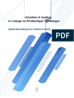 Etude de Fabrication Et Analyse DUsinage
