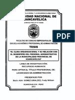 20-2015-EPAE-Quispe Vargas-Clima Organizacional y Desempeño Laboral en La MD de Pacucha
