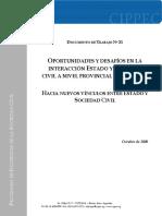 Cippec - Documentos n21. Oportunidades y Desafíos en La Interacción Estado y Sociedad Civil a Nivel Provincial y Municipal