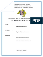 IDENTIFICACIÓN DE PELIGROS Y RIESGOS EN TALLER DE CALZADO PARA DAMA