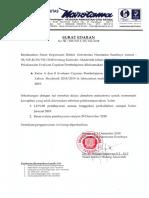 Surat Edaran WR I tentang Pelaksanaan CP 4 kelas A & B