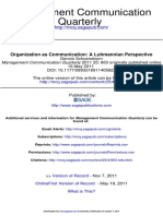 Schoeneborn, D. (2011) - Organization as communication. A Luhmannian Perspective