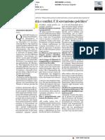 Patria, sovranità e confini- E' il Sovranismo psichico - La Stampa dell'8 dicembre 2018