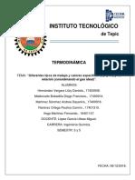 """""""Diferentes Tipos de Trabajo y Calores Específicos (Cp y Cv) y Su Relación (Considerando El Gas Ideal)"""". -"""