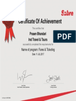 Sabre Certificate - Mr. Prasen Bhandari