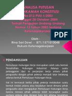 Analisa Putusan MK No. 012/PUU-I/2003