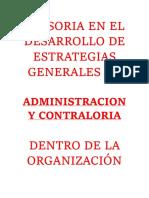 2.- ASESORIA EN EL DESARROLLO DE ESTRATEGIAS GENERALES DE ADMINISTRACION Y CONTRALORIA DENTRO DE LA ORGANIZACIÓN