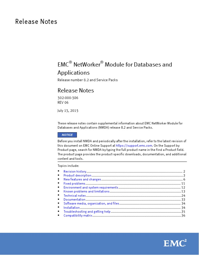 NetWorker Module for Databases and Applications 8 2 and