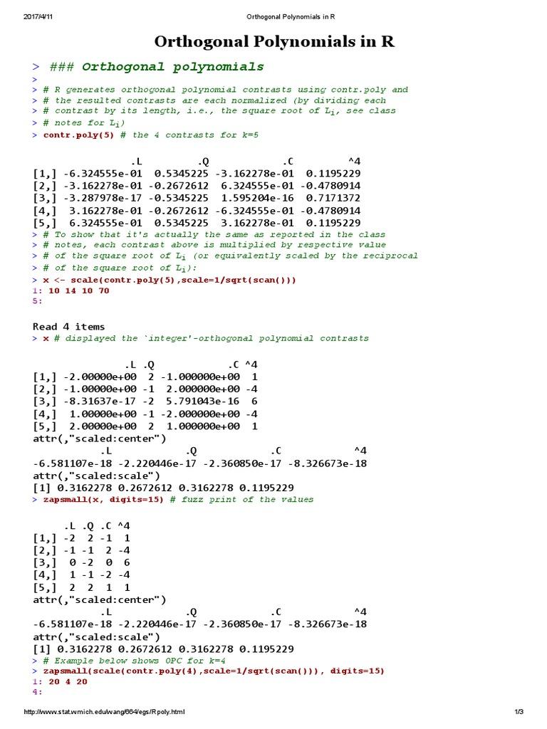 Orthogonal Polynomials in R