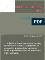 Table of Specifications 2013