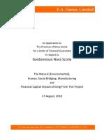 Gordonstoun Nova Scotia Application Letter of Financial Guarantee,  August 2018