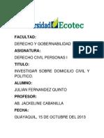 Domicilio Civil y Politico Fernandez