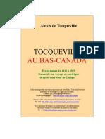 Tocqueville Au Bas Canada