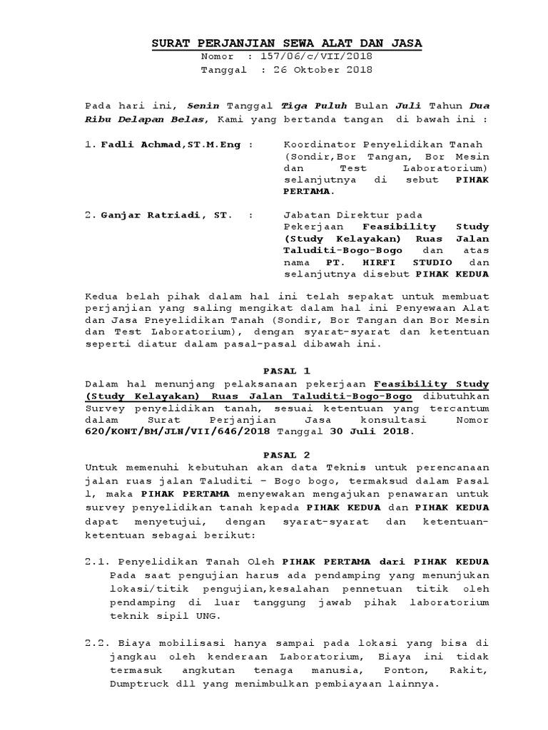 Surat Perjanjian Penyelidikan Tanah