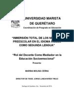 Inmersión total de los niños de preescolar en el idioma inglés como segunda lengua (Documento)