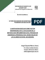 La motivación escolar como factor indispensable en la aplicación de la metodología implementada en el proceso de enseñanza-aprendizaje del idioma inglés en los alumnos de nivel secundaria (Documento)