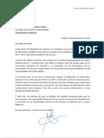Carta del ministre de Fomento, José Luis Ábalos, al conseller de Territori, Damià Calvet