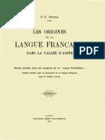 Les_origines de La Langue Francaise en Vallee d Aoste