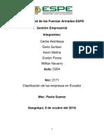 Clasificacion de Las Empresas Ecuador