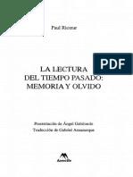 Ricoeur Paul - La Lectura Del Tiempo Pasado - Memoria Y Olvido