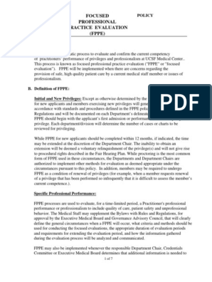 UCSF Medical Staff FPPE Policy | Credential | Competence