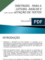 DIRETRIZES,  PARA A LEITURA, ANÁLISE E