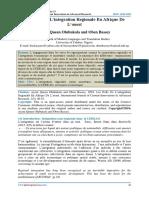 Les Defis De L'integration Regionale En Afrique De L'ouest