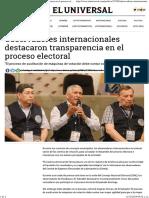 Observadores Internacionales Destacaron Transparencia en El Proceso Electoral