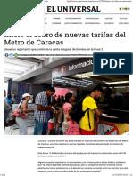 Inició El Cobro de Nuevas Tarifas Del Metro de Caracas